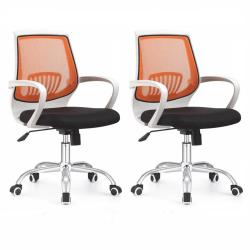 2 kusy, kancelárske kreslo, čierna/oranžová, LANCELOT