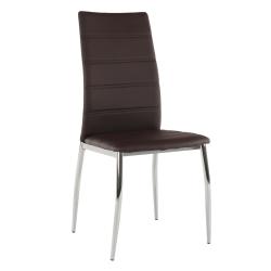 Jedálenská stolička, ekokoža hnedá/chróm, DELA