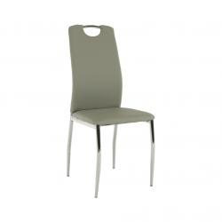 Jedálenská stolička, ekokoža sivá/chróm, ERVINA