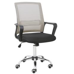 Kancelárska stolička, sieťovina sivohnedá TAUPE/látka čierna, APOLO