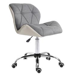 Kancelárske kreslo, biela/sivá/chróm, BADAR