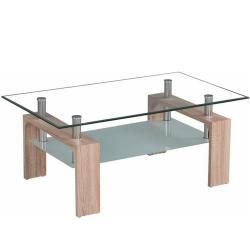 Konferenčný stolík, dub sonoma/sklo, LIBOR NEW