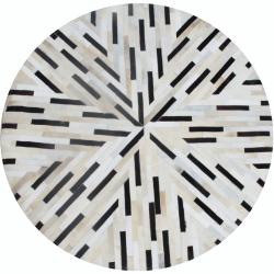 Luxusný kožený koberec, čierna/béžová/biela, patchwork, 200x200, KOŽA TYP 8