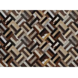 Luxusný kožený koberec, hnedá/čierna/béžová, patchwork, 170x240 , KOŽA TYP 2