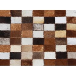 Luxusný kožený koberec, hnedá/čierna/biela, patchwork, 120x184, KOŽA TYP 3