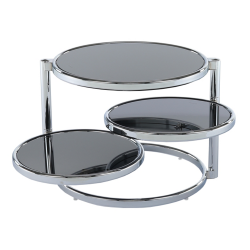 Otočný konferenčný stolík, čierne sklo/chróm, MOIRA