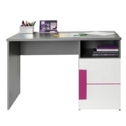 PC stôl, sivá/biela/fialová, LOBETE 21