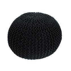 Pletený taburet, čierna bavlna, GOBI TYP 2