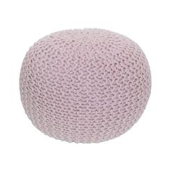 Pletený taburet, púdrová ružová bavlna, GOBI TYP 1