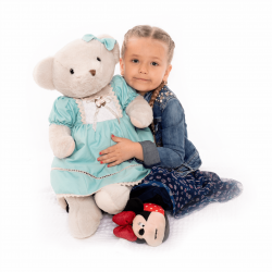 Plyšový medveď, smotanová/modrá, 65cm, MADEN GIRL TYP2
