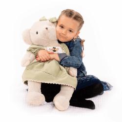 Plyšový medveď, smotanová/zelená, 65cm, MADEN GIRL TYP2