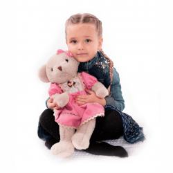 Plyšový medvedík, smotanová/ružová, 45cm, MADEN GIRL TYP1