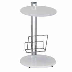 Príručný stolík s držiakom na časopisy, biela/chromovaná, ANABEL
