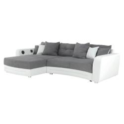 Rohová sedacia súprava s elektronickými doplnkami, eko biela /látka sivá , LUXLAREDO, rozbalený tovar
