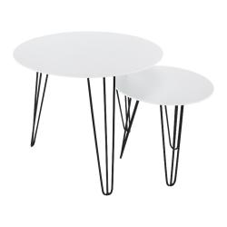 Set príručných stolíkov, biela/čierna, HOLDEN 2V1