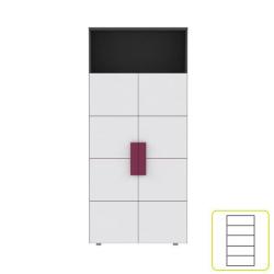 Skriňa policová, sivá/biela/fialová, LOBETE R82