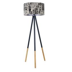 Stojacia lampa, čierny kov/látka, CINDA TYP 6 YF6253