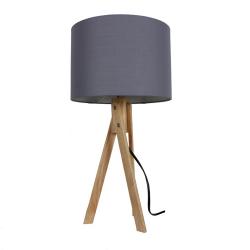 Stolná lampa, sivá/prírodné drevo, LILA TYP 2 LS2002