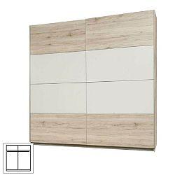 Vešiaková skriňa s posúvacími dverami, dub pieskový/biela, VALERIA