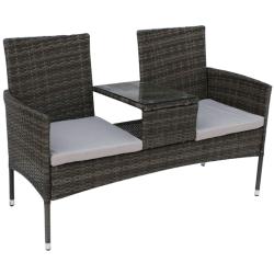 Záhradná lavica so stolíkom a poduškami, sivá, LALIT