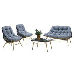 Záhradný 4-dielny set, prírodná/sivá/modrá, BAREN