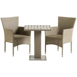 Záhradný ratanový set, stôl+2x kreslo, prírodná, THY