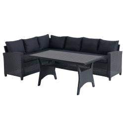Záhradný rohový set so stolom, čierna, ULLEHUSE